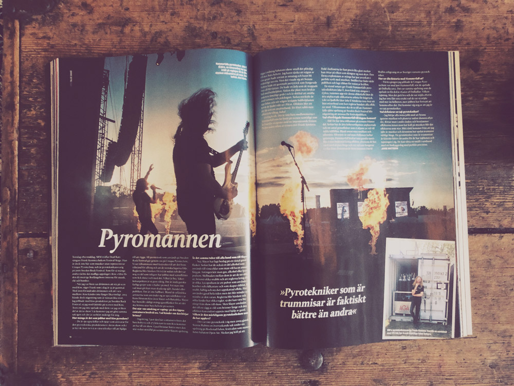 Deaf Rat vocalist Frankie Rich talks about pyro in latest issue of Sweden Rock Magazine